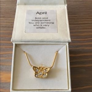 April birthstone butterfly necklace.